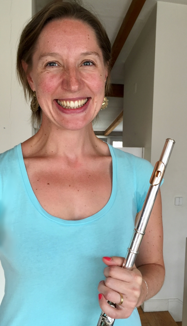 "A Flautista Belga Laurence Schubert, com a Powell 2100 ""vintage"" dela."