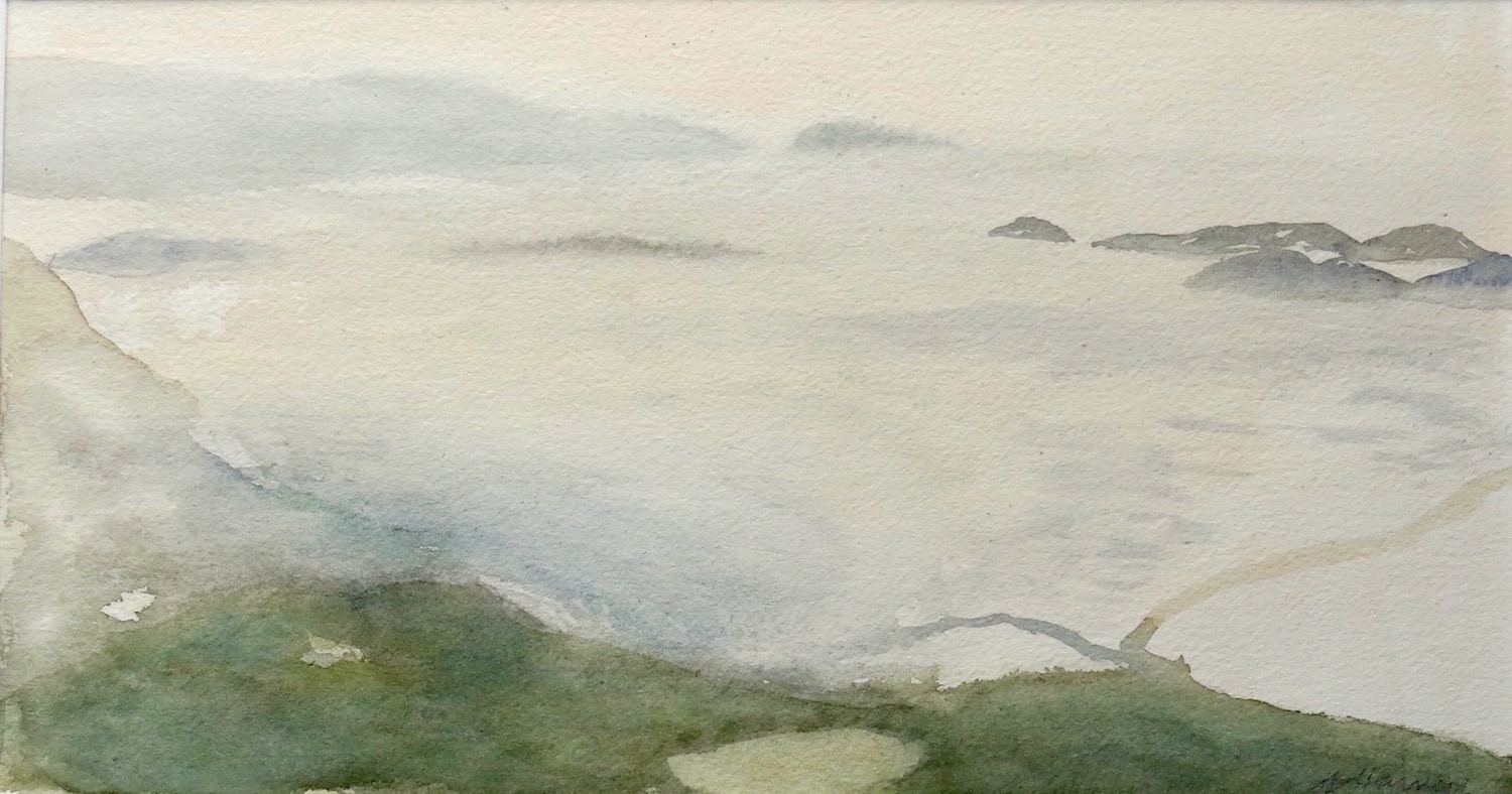 approaching dusk above st columba's bay-iona  watercolour 21x38cm  sold
