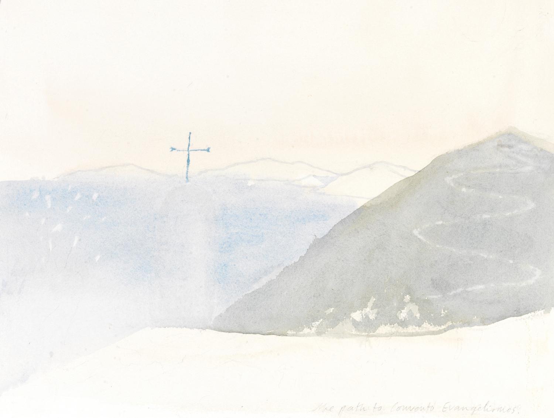 the path to convent evangelismos   watercolour  32x41cm