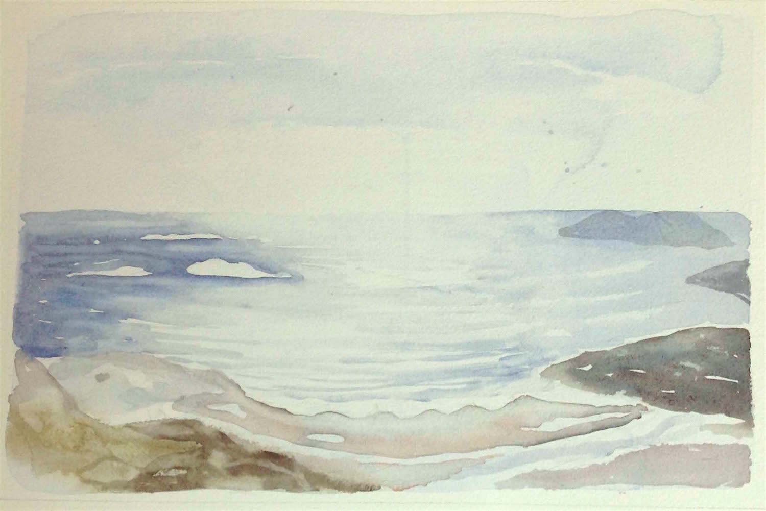 early morning-st columba's bay-iona  watercolour - sold