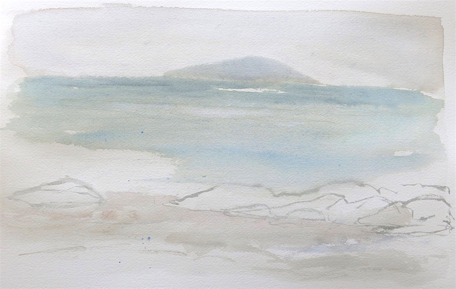 white strand of the monks-iona  watercolour  sold