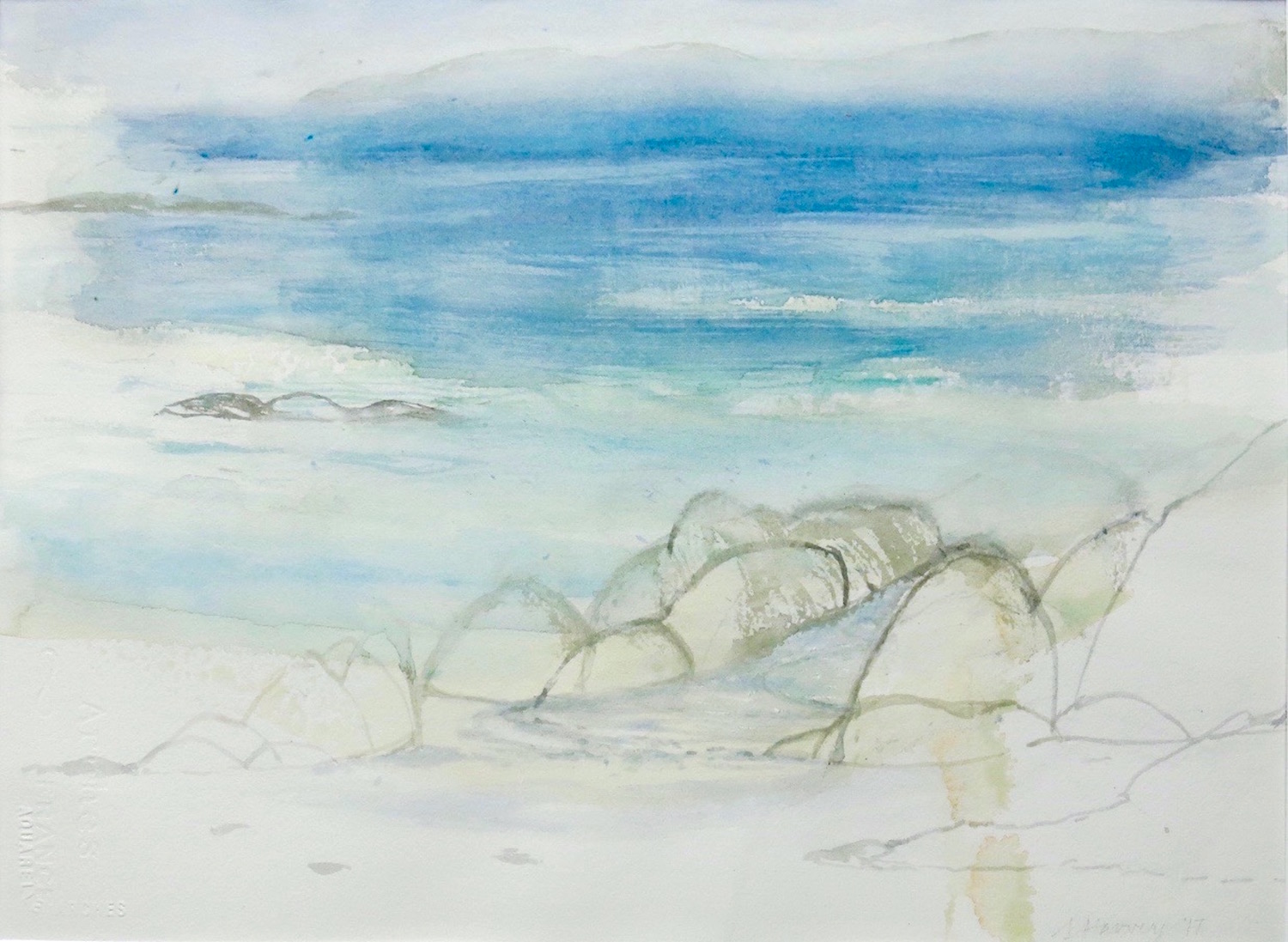 tidepool-white strand-iona  watercolour on paper  32x44cm