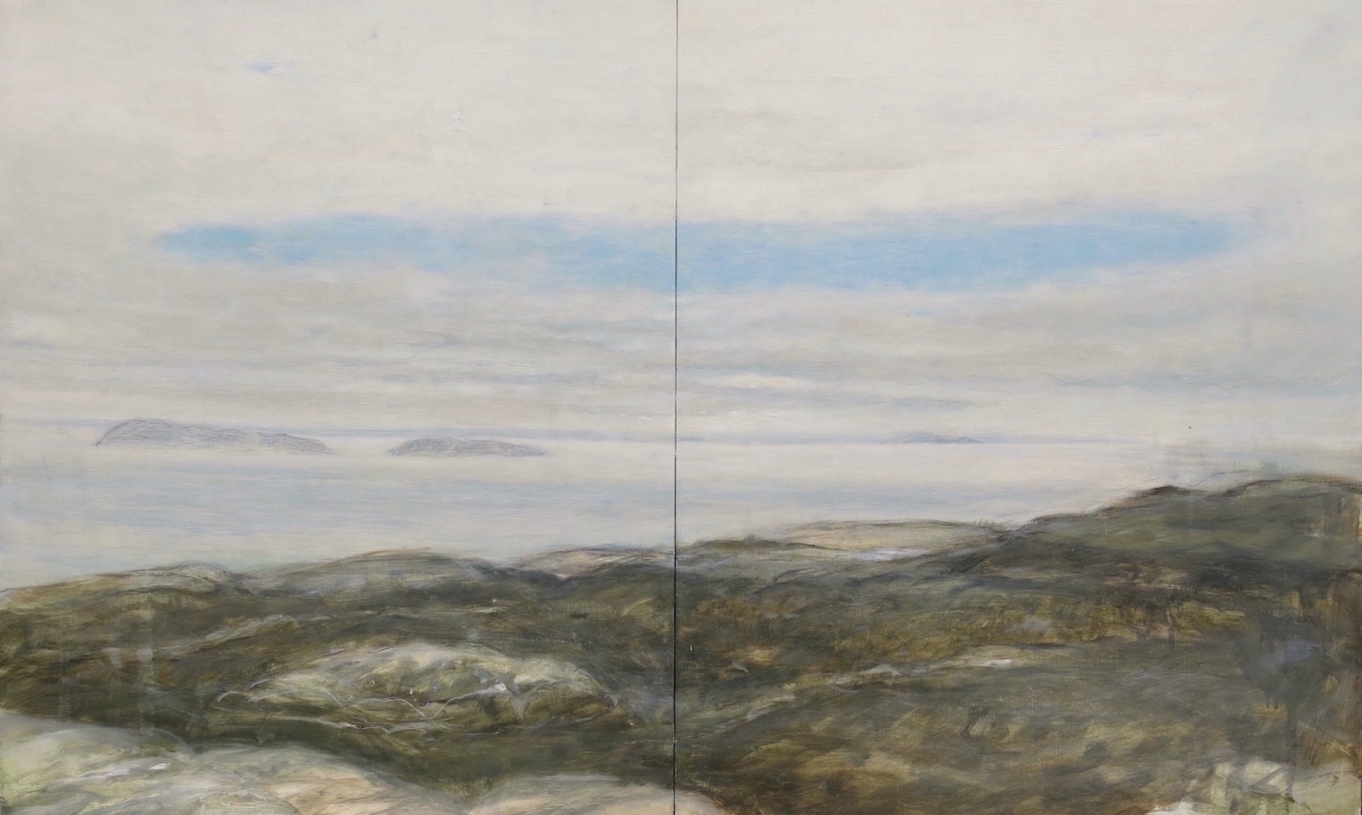 afternoon light-southcoast-iona diptych oil on gessoed panel   48x80cm