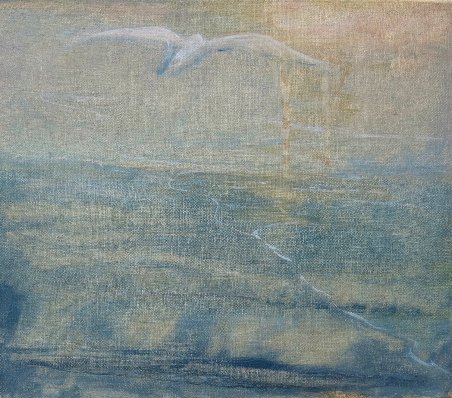 journeying west  oil and egg tempera on gessoed linen mounted on board  27x30.5 cm