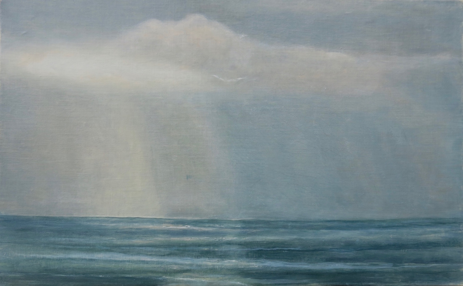 passing light- holy isle   oil and egg tempera on gessoed linen mounted on board  30.5x48 cm