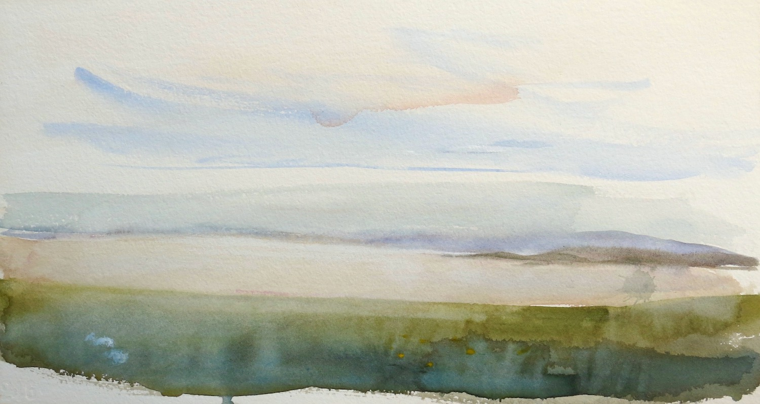 evening light, by the abbey, Iona -  watercolour on paper  26 x 48 cm