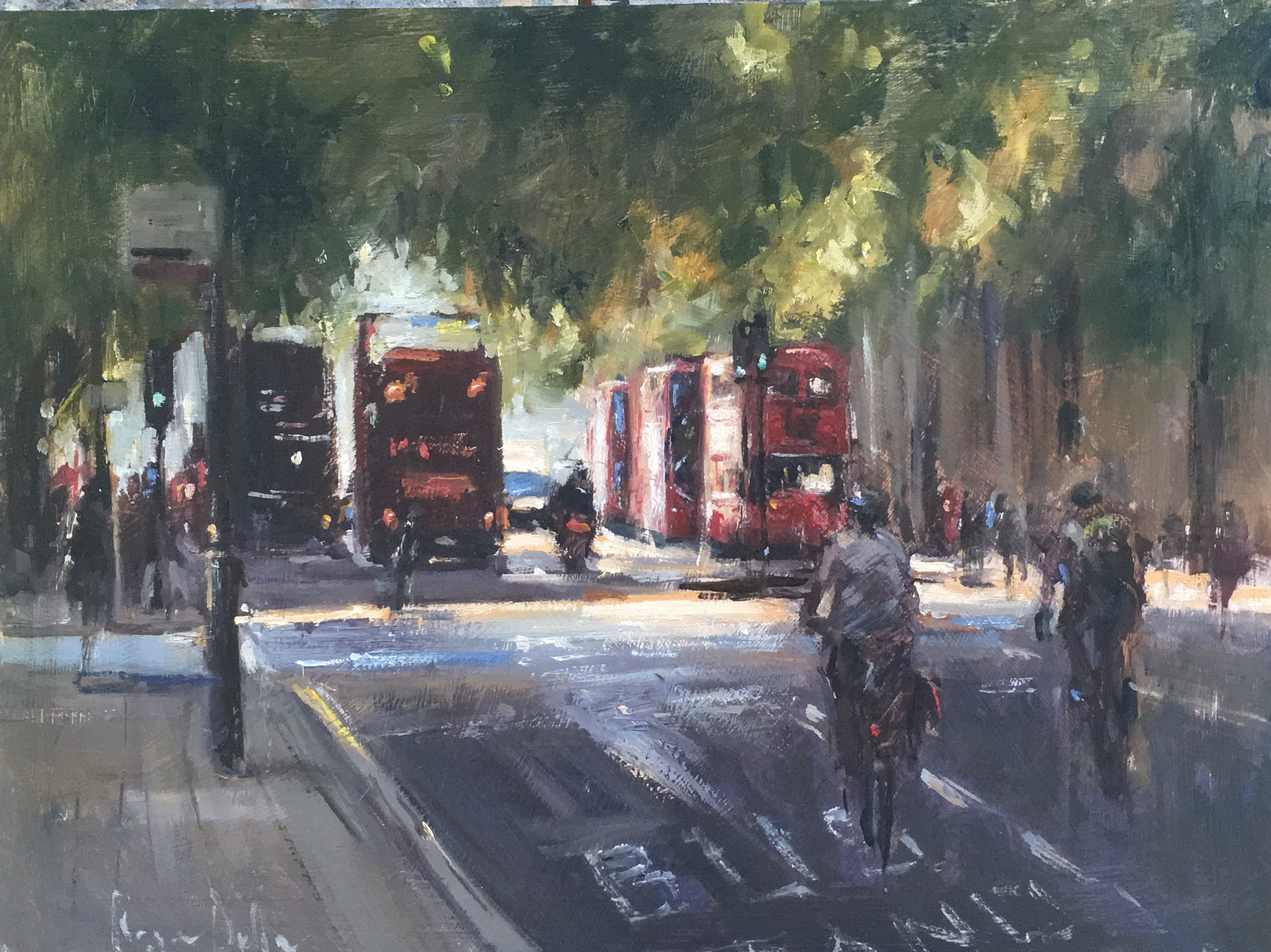 Cycling home Oil on board 12x16