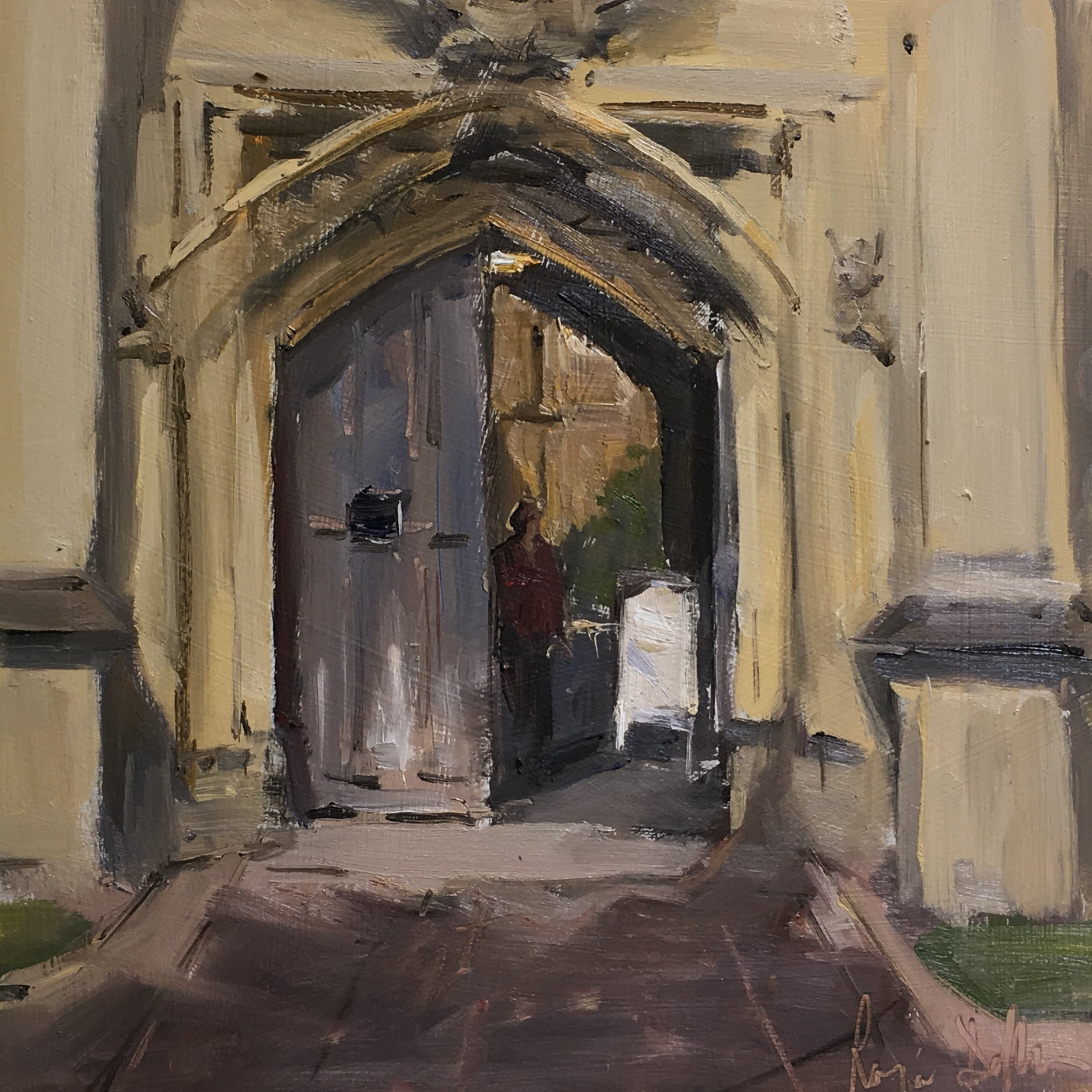 Doorway Magdalen College Oxford 12x12 Oil on board
