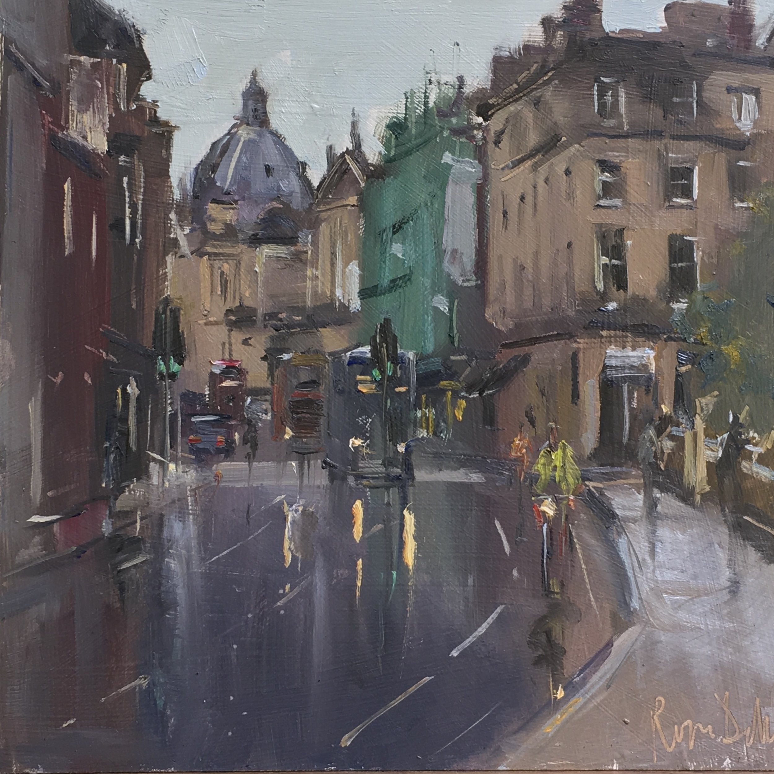 Oxford wet day 12x12 oil on board