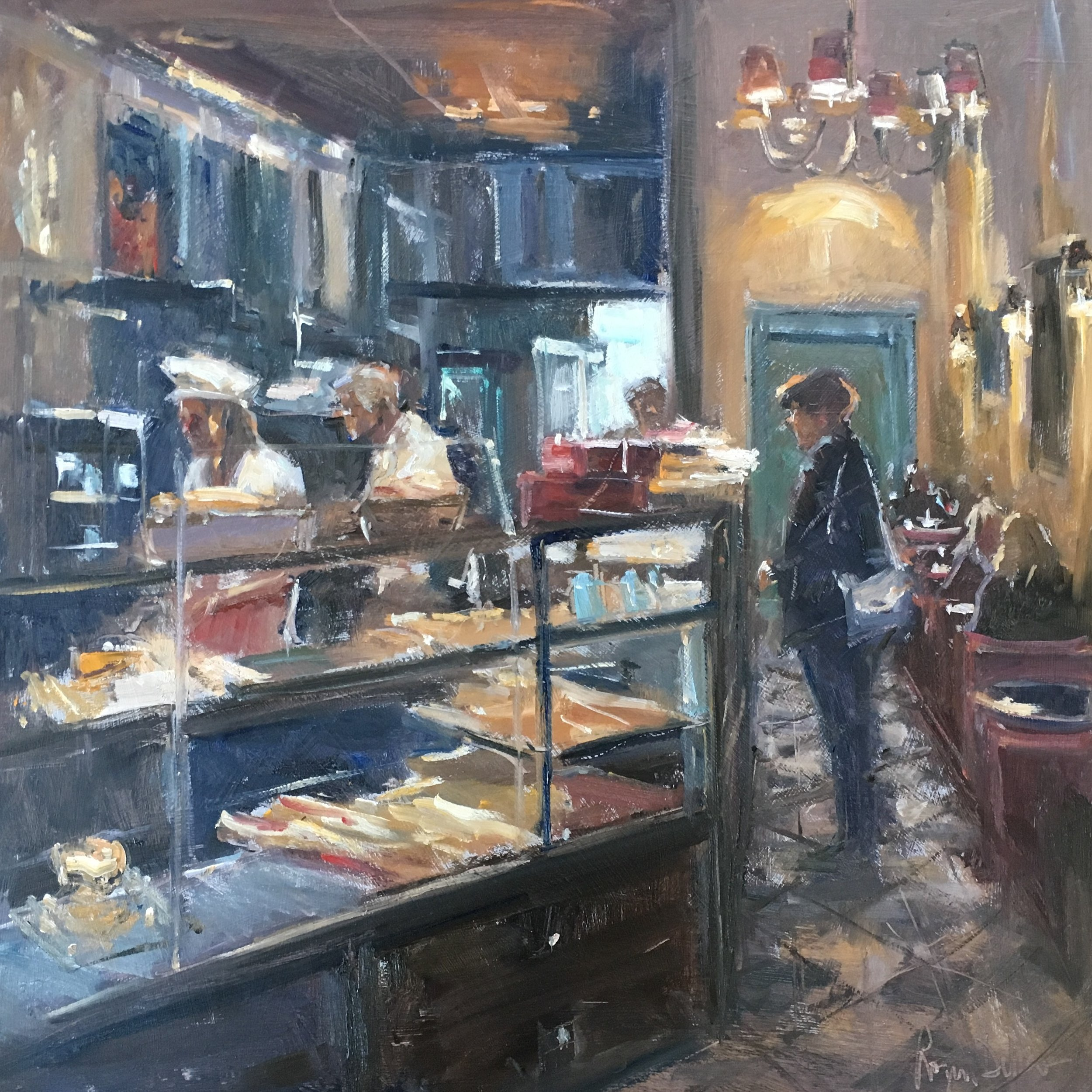 Patisserie The Strand 20x20 Oil on board