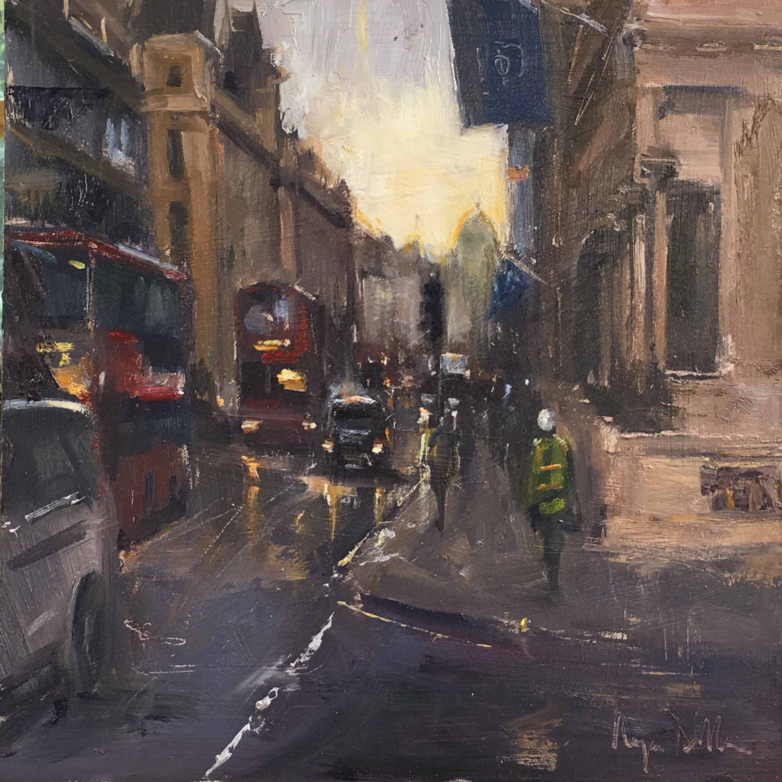 Evening approaches Pall Mall 12x12 Oil on board