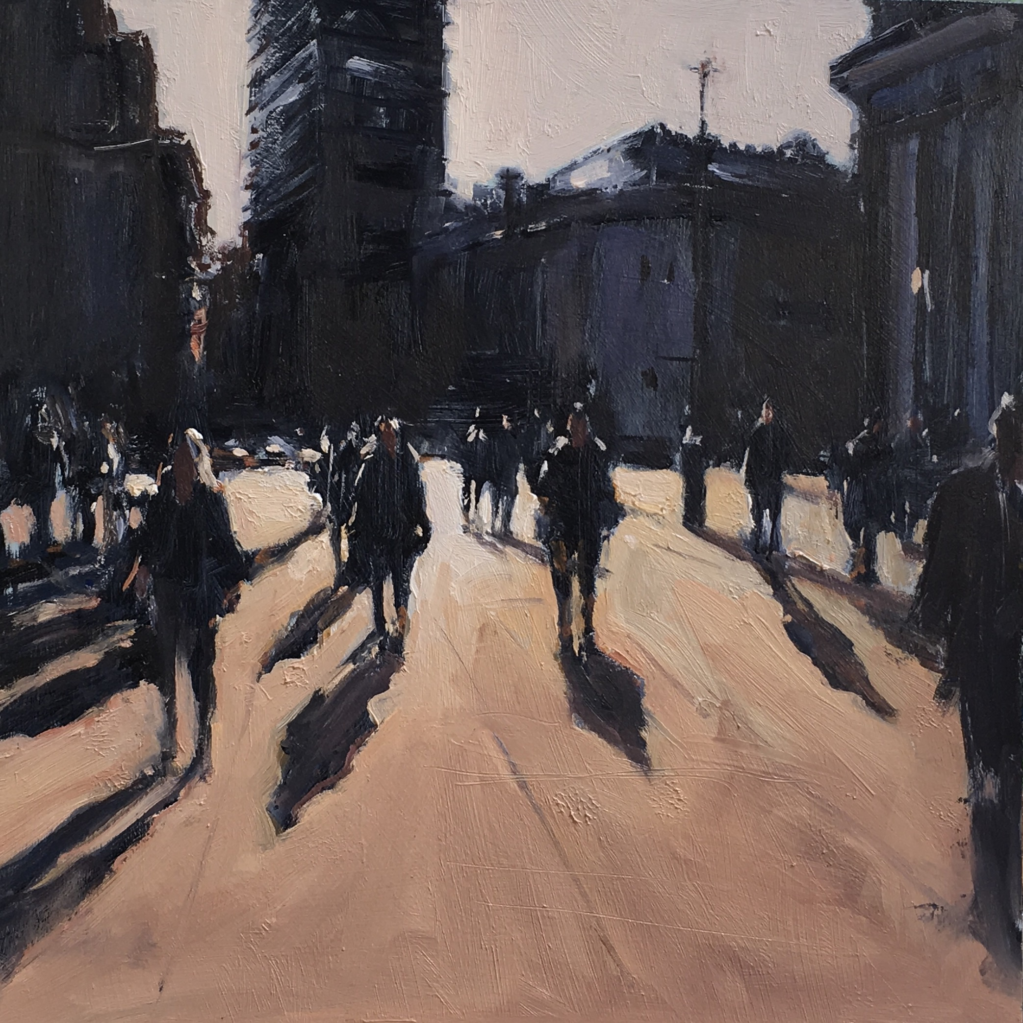 Outside the the National gallery 16x16 Oil on board