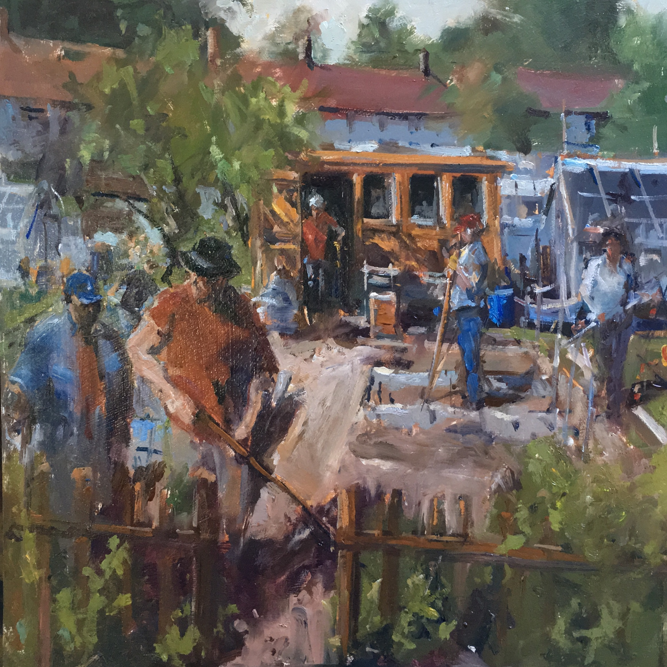Community spirit the allotments 16x16 inches Oil