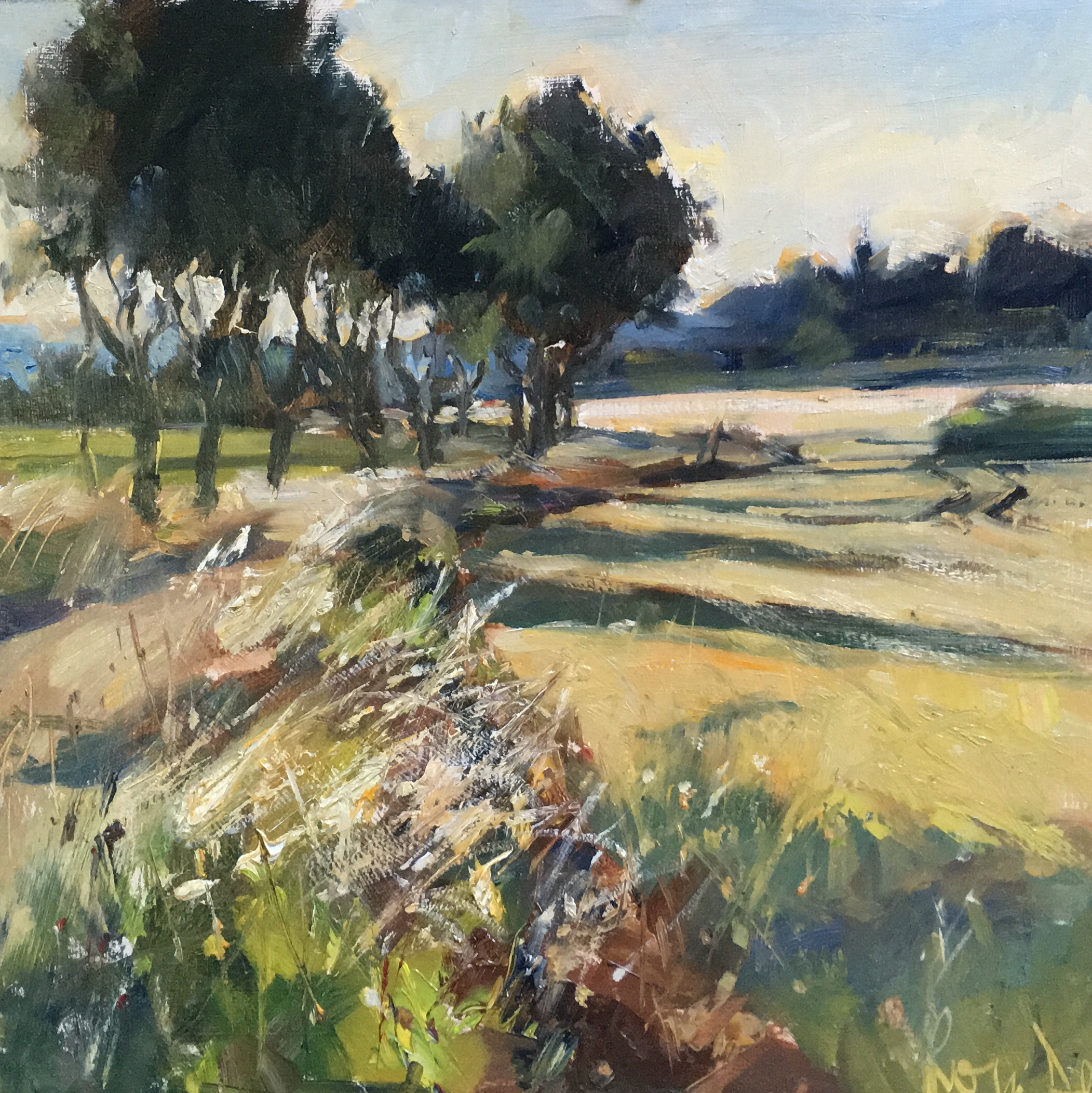 Lane by the fields Dedham 12x12 inches