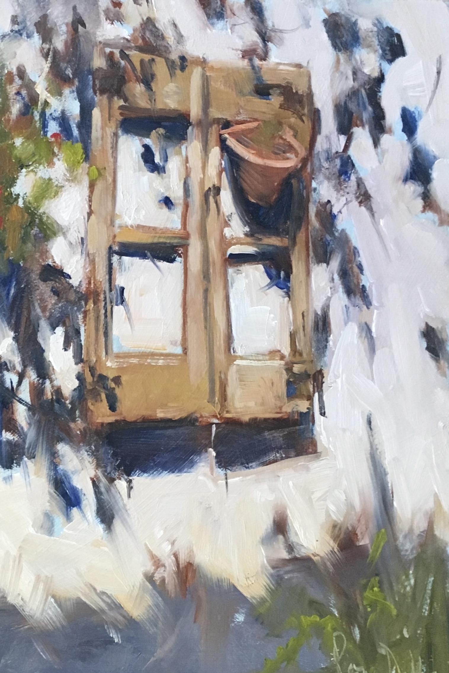 Pool House Window Oil on Board 10x10