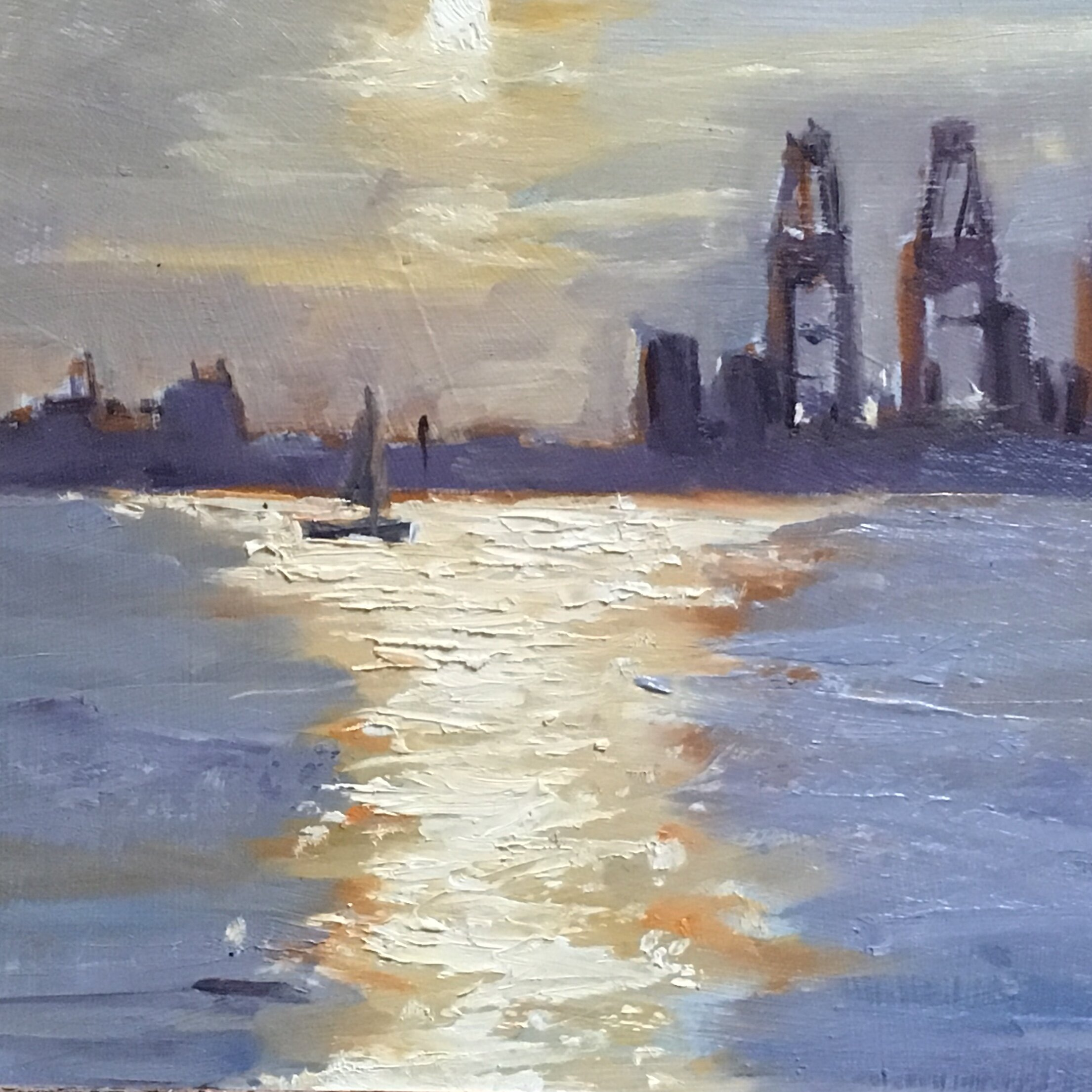 Cold early morning Harwich 11x11 Oil on board