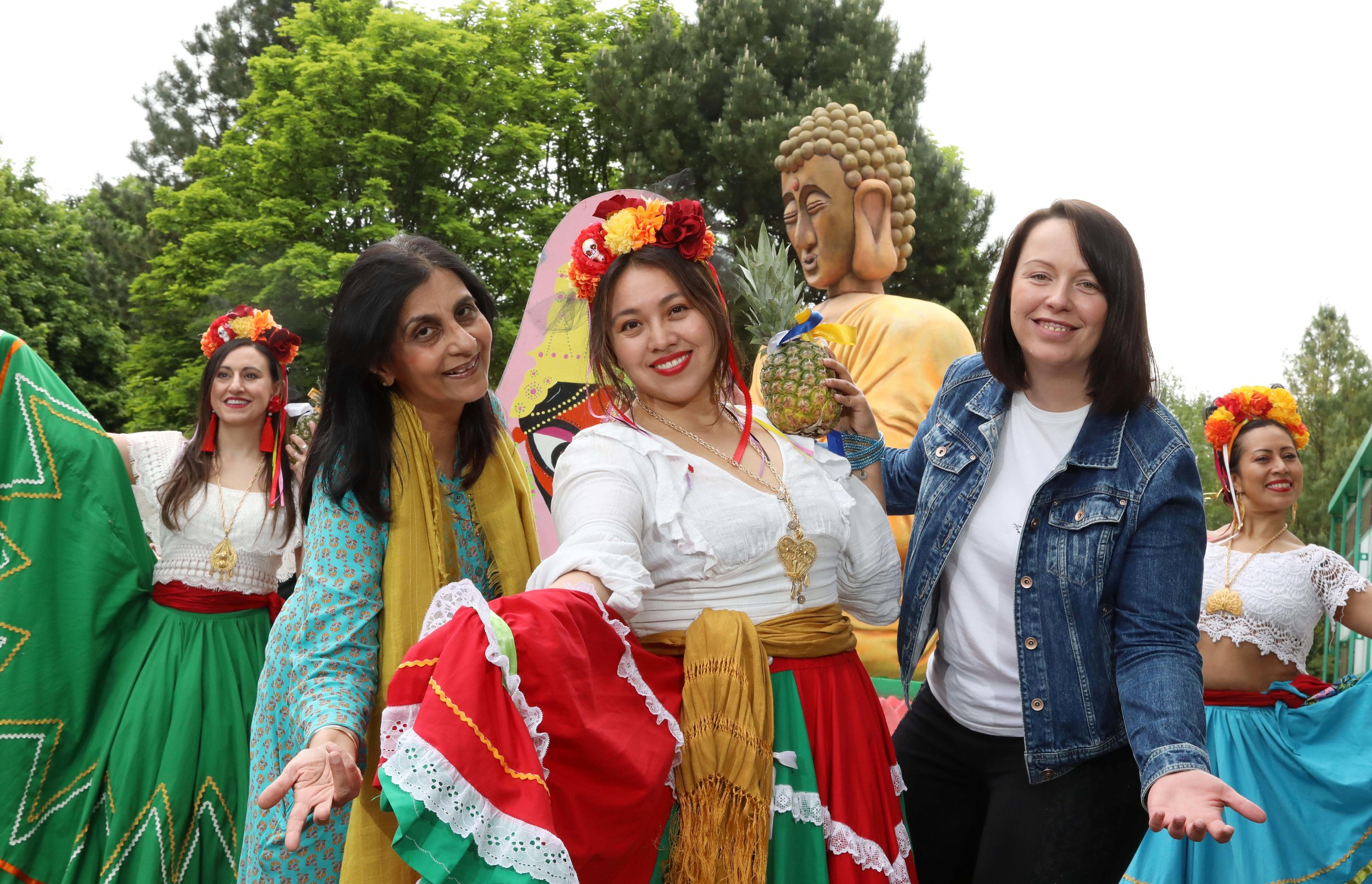 Adriana Morvaiova, Team Development Coordinator and Chair of ACE Network, Sensata Technologies, Nisha Tandon, Executive Director of Arts Ekta and founder of the Belfast Mela and Mexican dancer Mayte Segura are pictured at a Mini Mela held at the company's Antrim HQ last week to announce that Sensata will be the principal sponsor of Belfast Mela 2019 (©Press Eye/Darren Kidd)