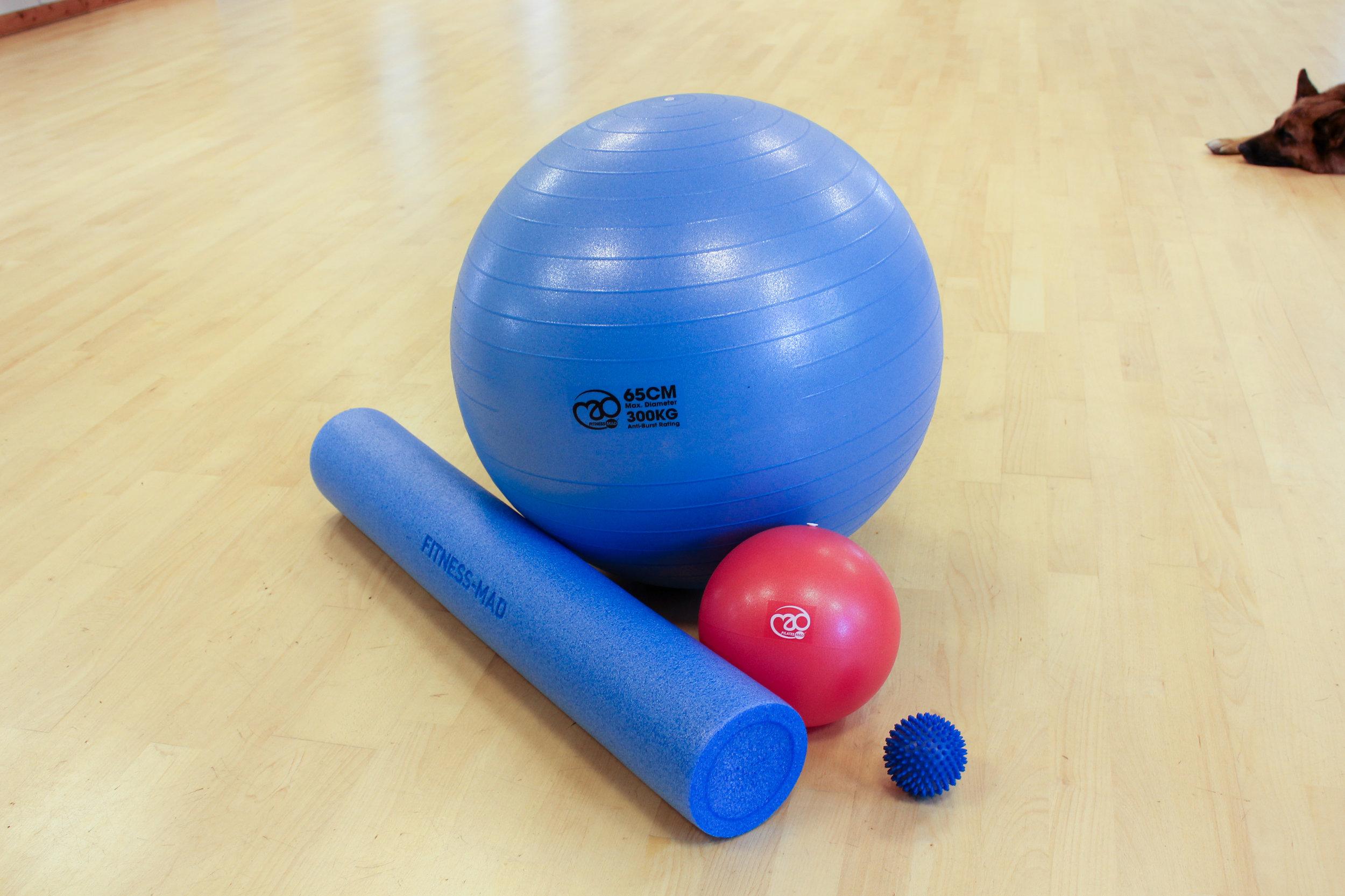 Swiss Ball, Roller, Pilates Soft Ball and Spikey Ball
