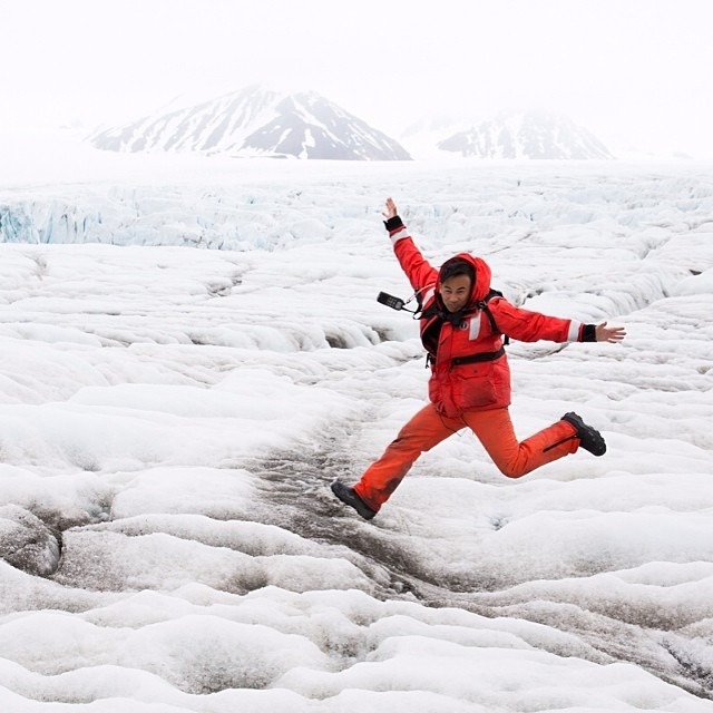 The quintessential jumping Arctic glacier photo. #muckboots will make you jump (and will also keep your feet warm and dry) #thisarcticlife (at Svalbard)