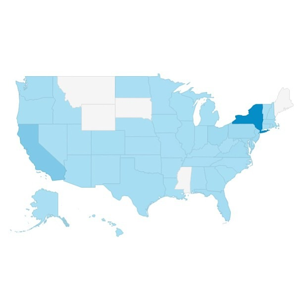 Today marks the 1 year anniversary of when I relaunched   http://reubenhernandez.com  . The site has had over 18,000 page views since then, and this map represents my US demographic.