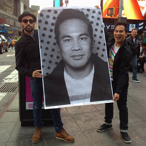 This is JR, one of my favorite artists and winner of the TED Prize in 2011 for being an exceptional individual. It was such an honor to meet him. This poster is part of his global art project, Inside Out, and was pasted on Times Square shortly after.   Taking this portrait and pasting it on Times Square made me feel like a real New Yorker, as cheesy as that sounds, being part of something so big and leaving my mark. JR said to stand up for something that you believe in. When I moved to NY, I took a stand to pursue my dreams and my passions and to do something creative and meaningful with my life.     JR believes that art can change the world. For more info visit:   http://  www.insideoutproject.net/  en/about   (at Times Square)