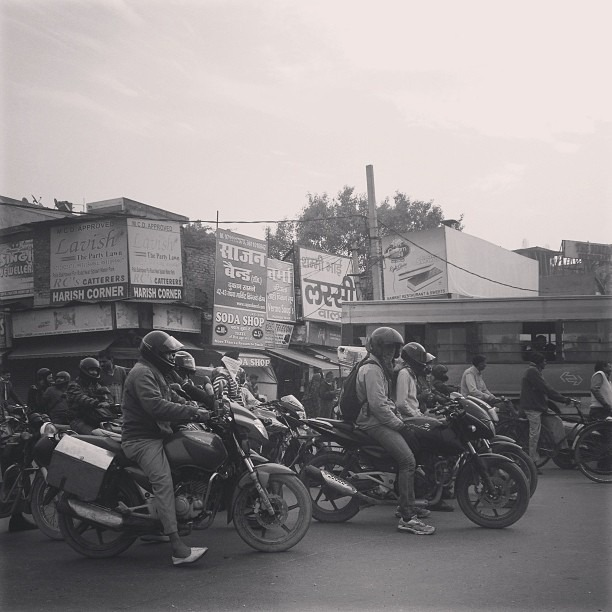Motorcycle drive by (at Delhi, India)