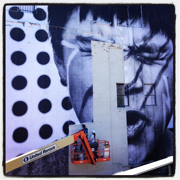 JR installing @insideoutproj at the @highlinenyc @JR_artist (Taken with  Instagram  at Upper Highline)