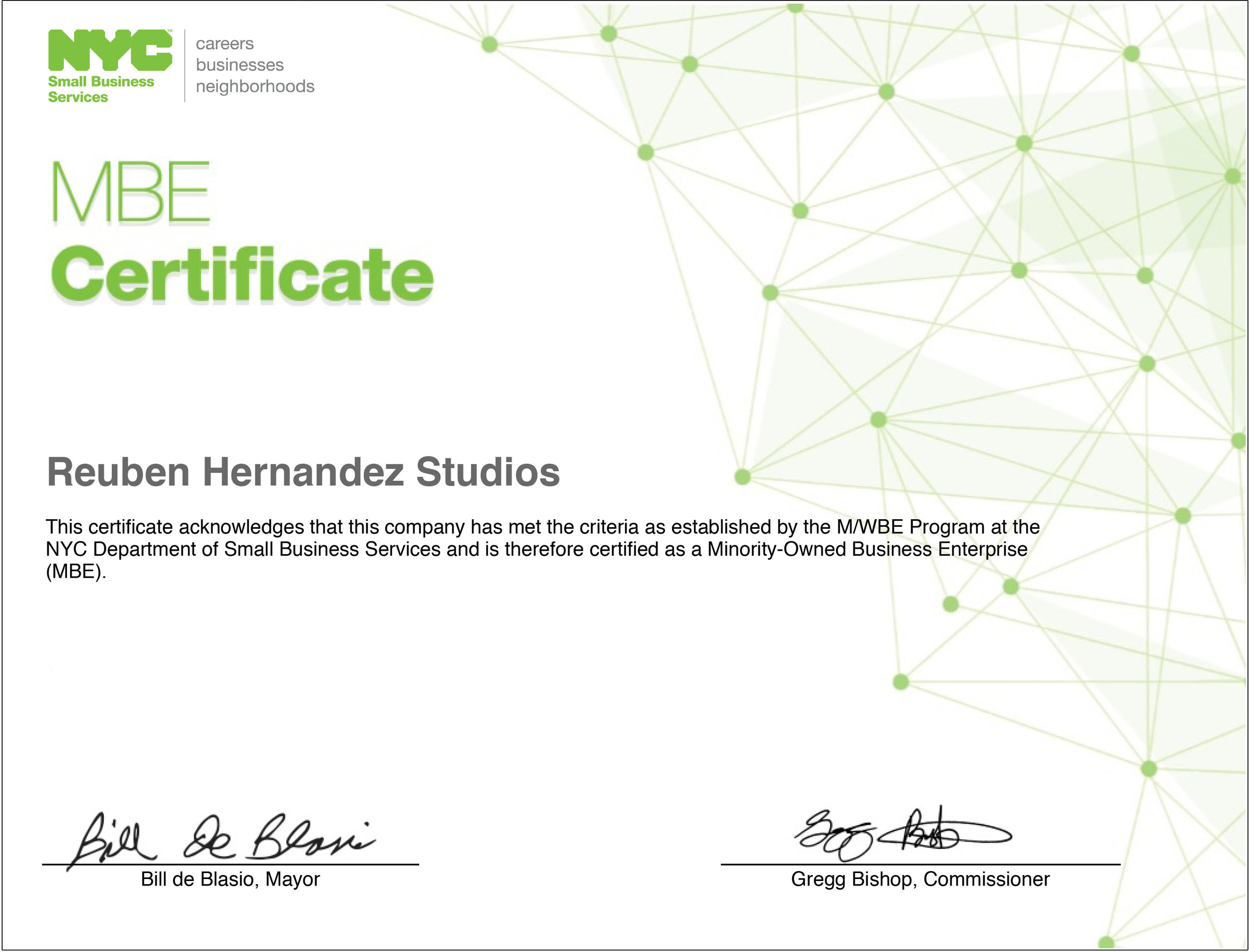 Reuben Hernandez Studios, MBE certified MBE certification, NYC Department of Small Business Services, M/WBE Certification