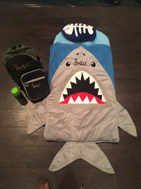 Monogrammed nap mat (bae was a fan of shark week this year!) and monogrammed lunch box and backpack.