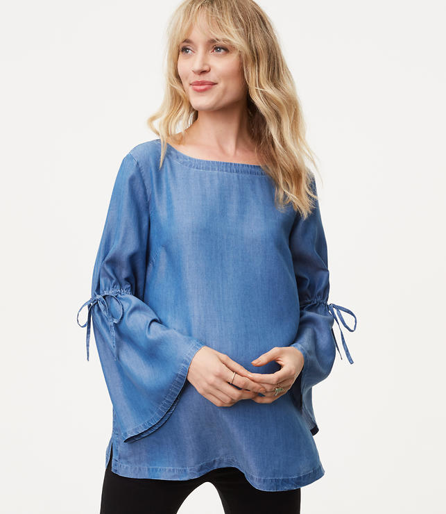 So I love this Loft Tie Bell Sleeve Top! It is classic in chambray, and I personally bought this piece to wear to church with a pair of lined, black Loft leggings, and the pair of black semi-distressed jeans I am currently looking for!This purchase was a purchase I mulled over a bit and ultimately bought for the style, but also for the fact that it will be an item good for around the year wear, and it will still look great if and when I lose a few pounds :)