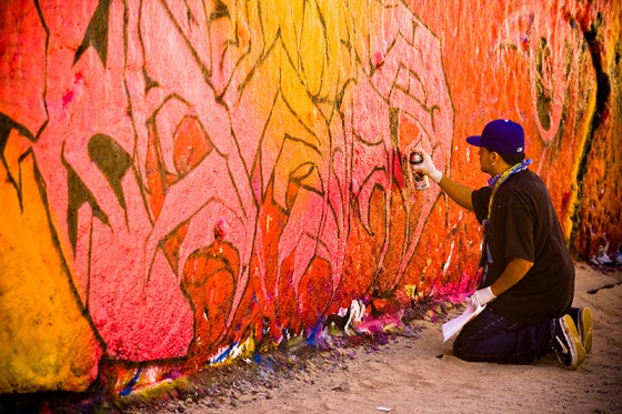 There's a place on Venice Beach where graffiti artists can do their thing without breaking the law or destroying property. It was neat to see these guys creating their artwork, and they were very receptive to talking about it and having conversations while they worked.