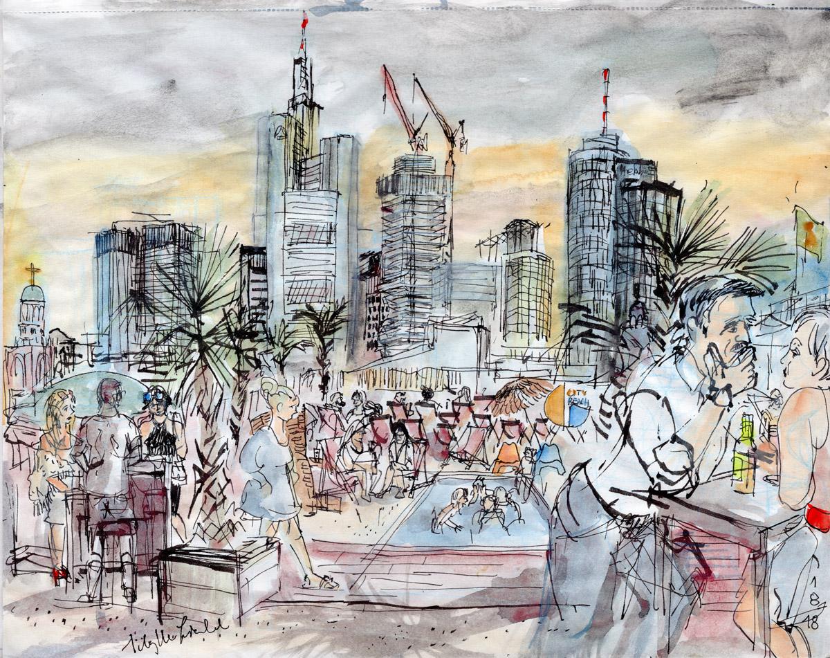City Beach Frankfurt Skyline, 2018 (auch als Postkarte erhältlich)