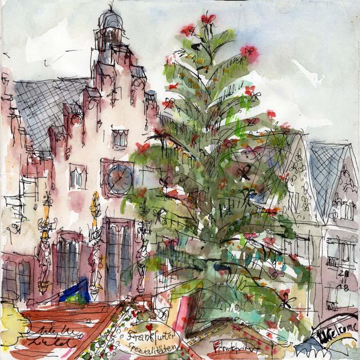 """Weihnachtsmarkt Christbaum am Römer, Frankfurt, 2018 (auch als """"Luxe"""" Karte erhältlich)"""
