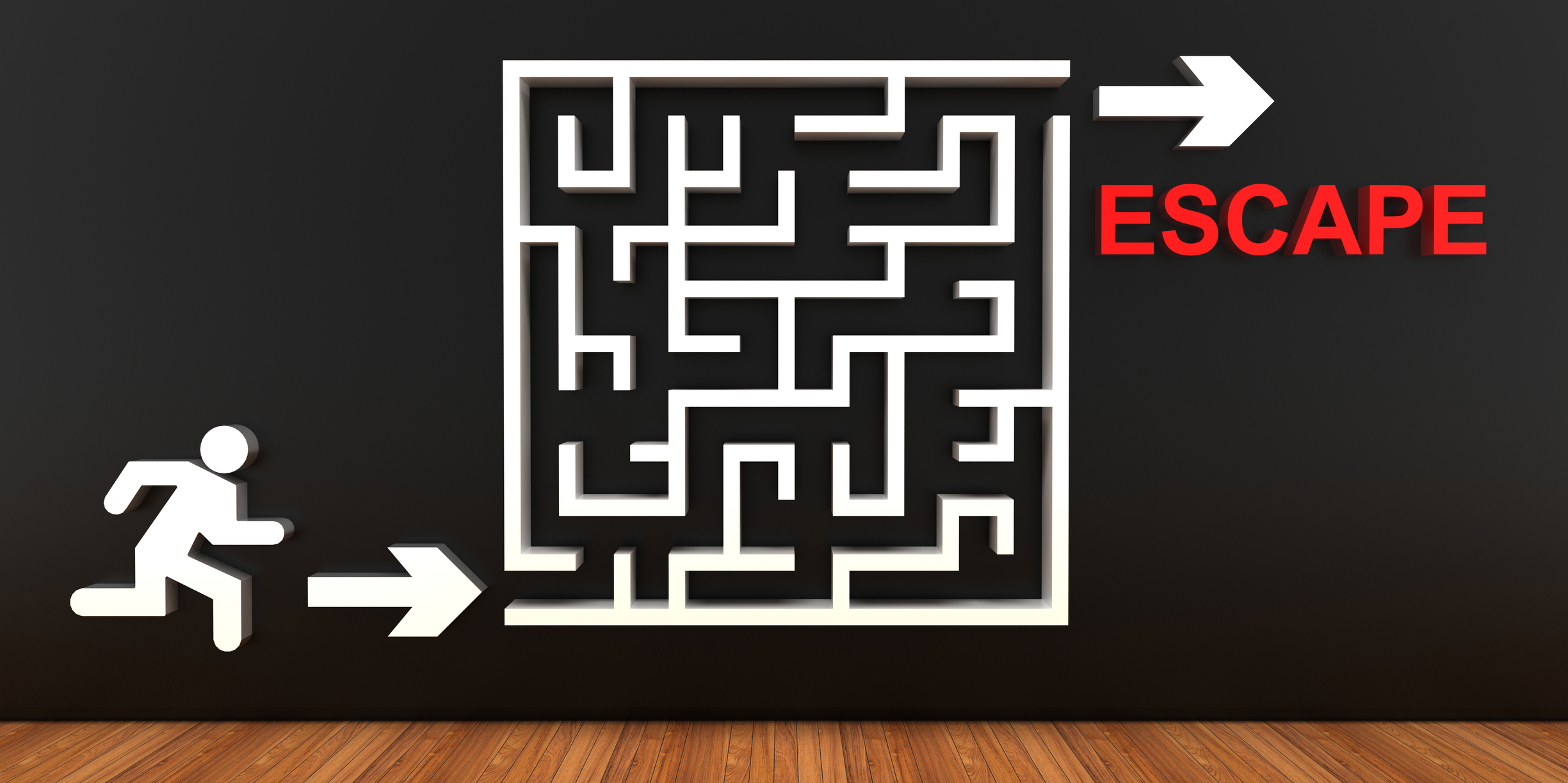 """Puzzle maze image with """"escape"""" at the exit"""