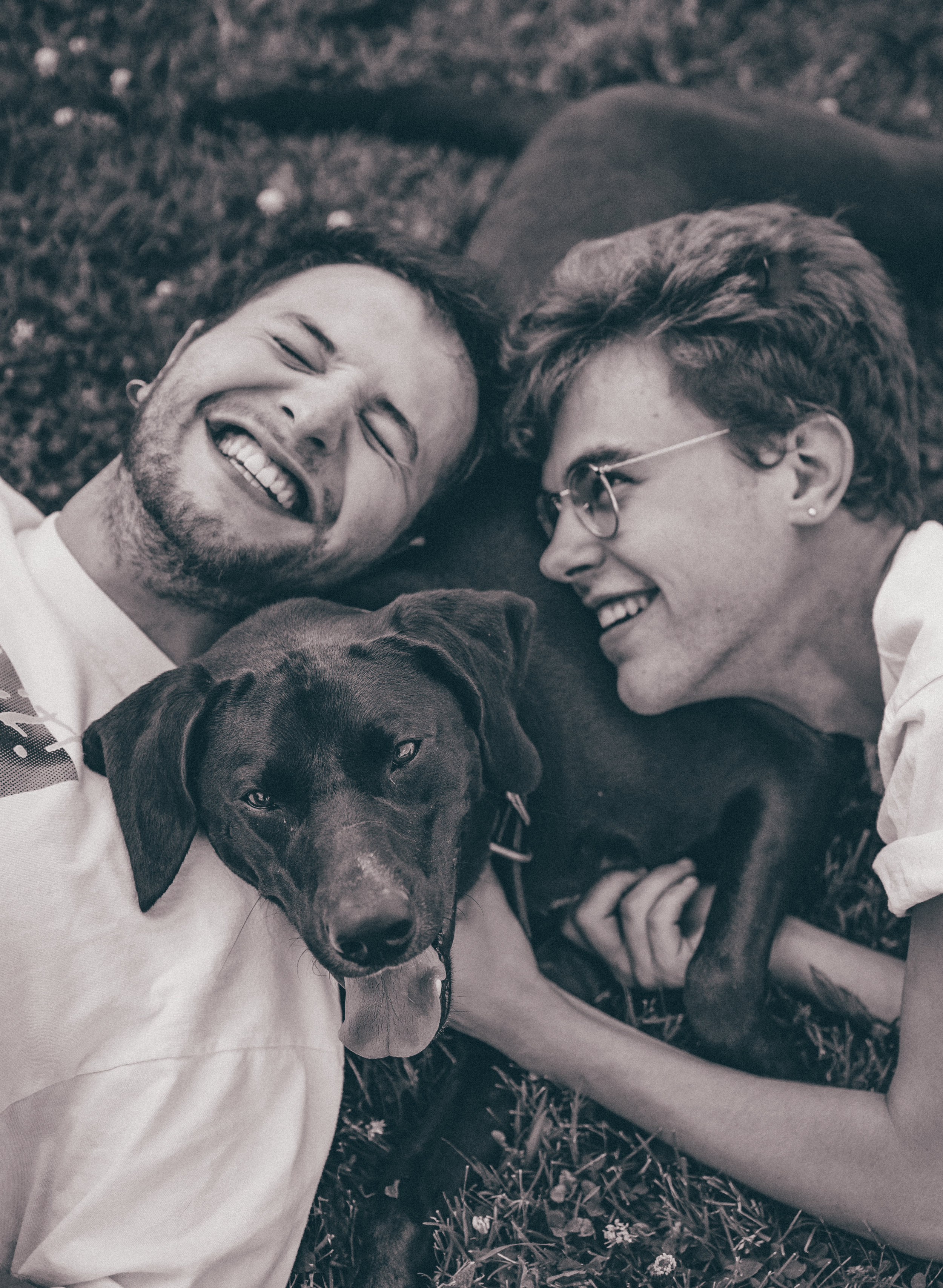 Weddings / Lifestyle - - hourly rate for shooting + flat fee per image file- optional for flat fee, contact for infoThis photo is of Brennan Hepler, Tyler Maez, and their wonderful pup Charlie.