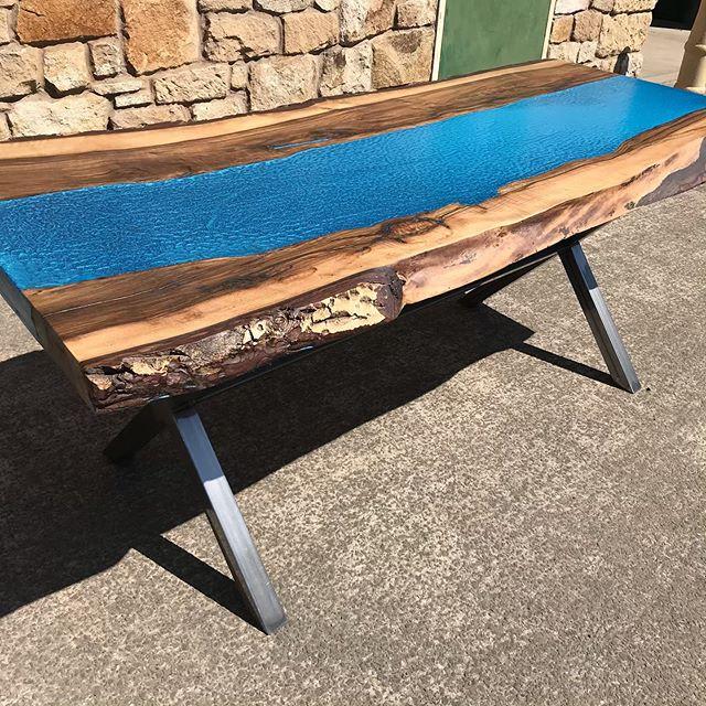 Reclaimed Walnut Resin River table with bespoke metal frame. £2250 #handmade #reclaimed #reclaimedfurniture #reclaimedkitchen #reclaimedtimber #bespoke #design #interiors #interiordesign #carpenter #kitchendesign #maker #patina #furnituremaker #artisan #hexham #corbridge #newcastle #northumberland