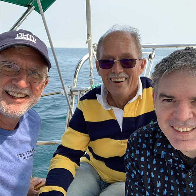 With stem cell recipient Dave Kurtz, and DP  Todd Norris on Lake Michigan.