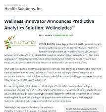 Health Solution announces  Wellnelytics innovation