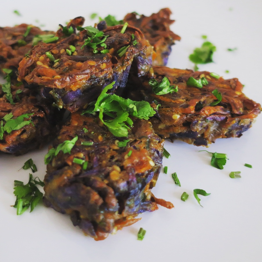 These kebabs/ fritters were made with red cabbage which was shredded by hand