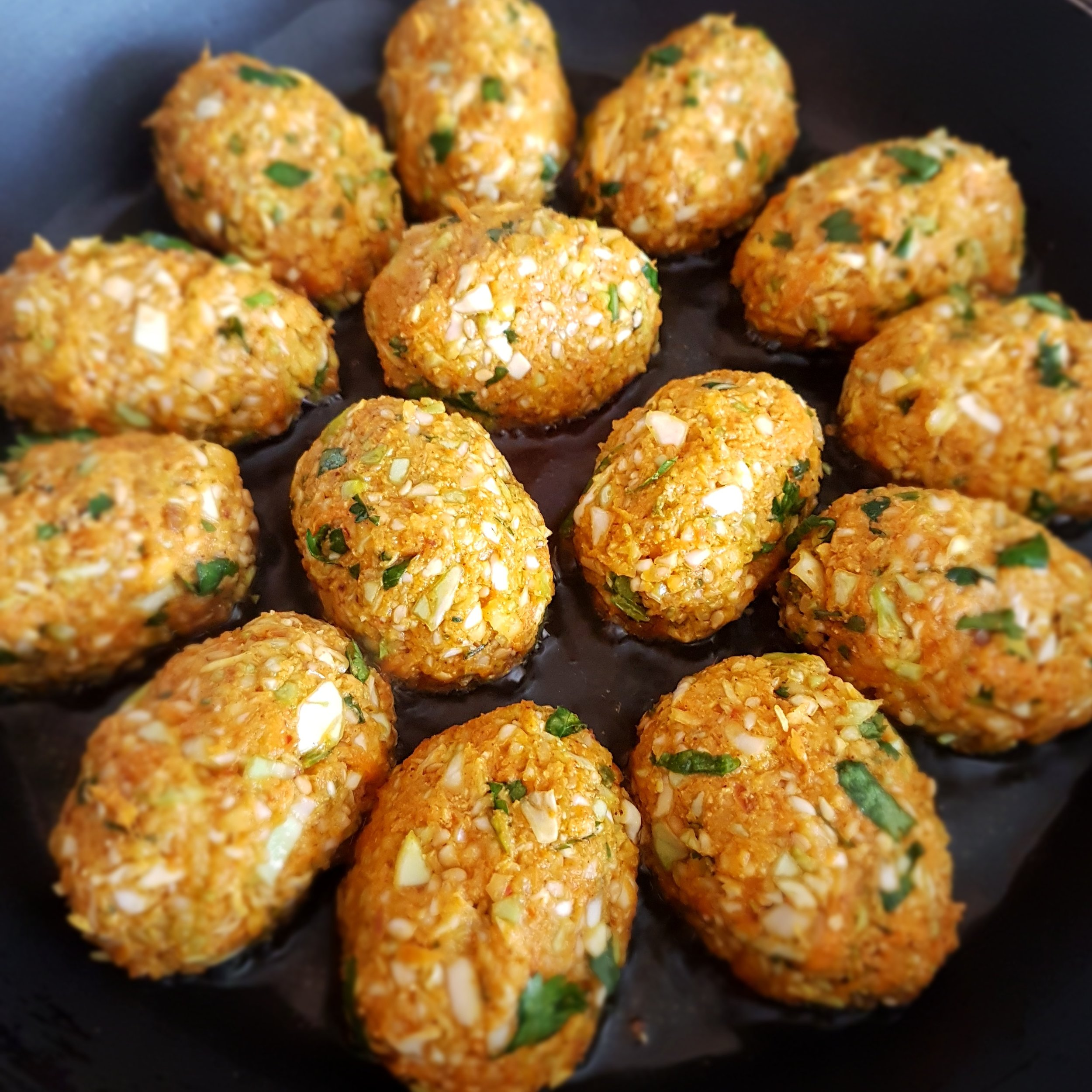 These kebabs/fritters were made with white cabbage which was shredded in a food processor