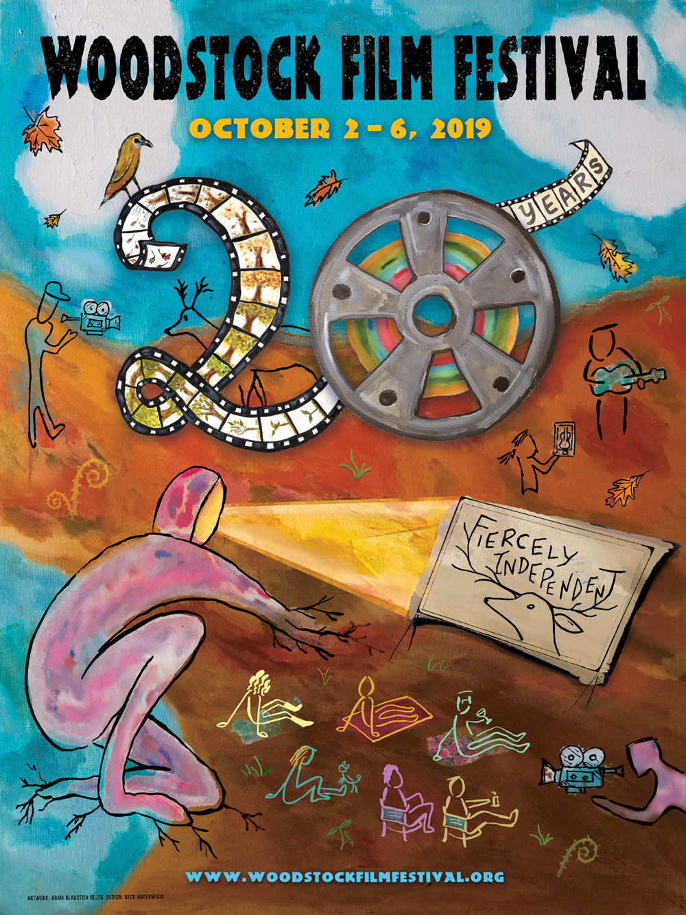 20th Anniversary Poster of Woodstock Film Festival; Artwork by myself and Graphic design by Beck Underwood