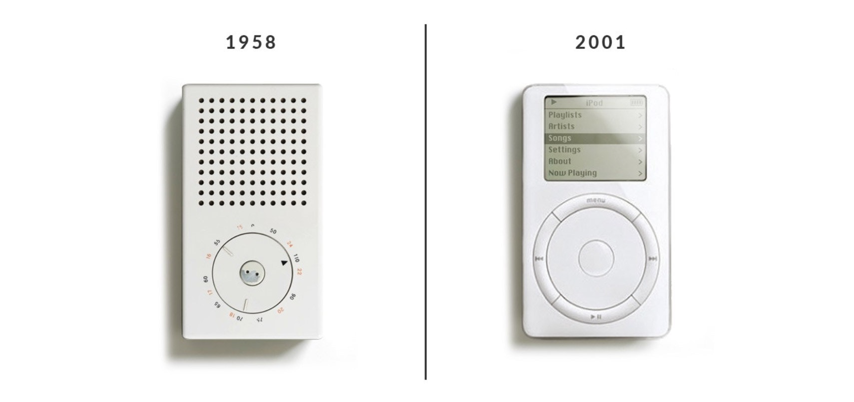 Braun T3 transmitter radio and the first-generation Apple iPod.