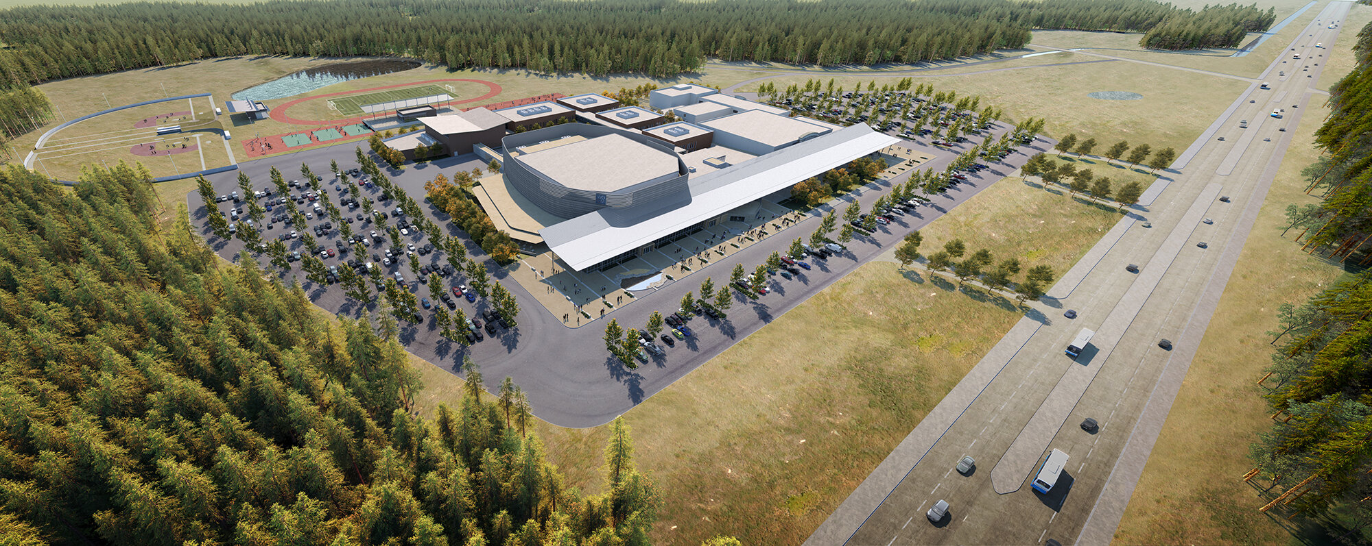Aerial view of the new campus
