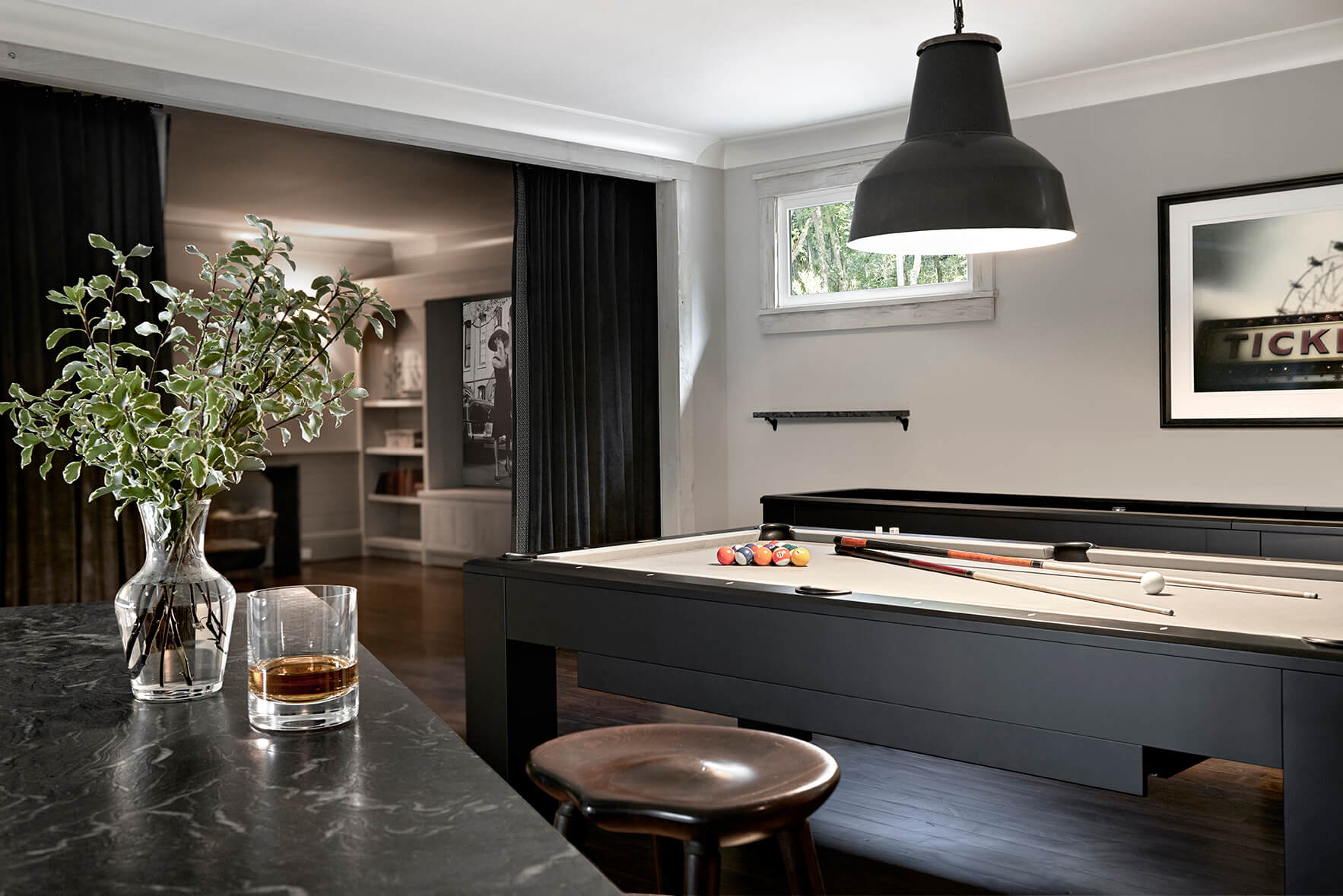 Recreation room with pool table and bar - Rustic Contemporary Bureau Interior Design Nashville TN