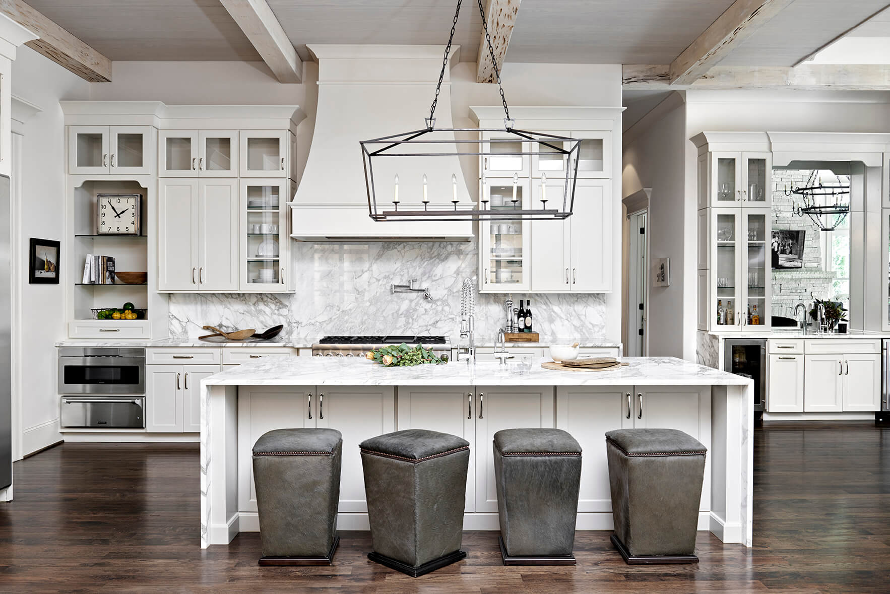 White kitchen with gray marble back splash, elegant upolstered gray seating - Rustic Contemporary Bureau Interior Design Nashville TN
