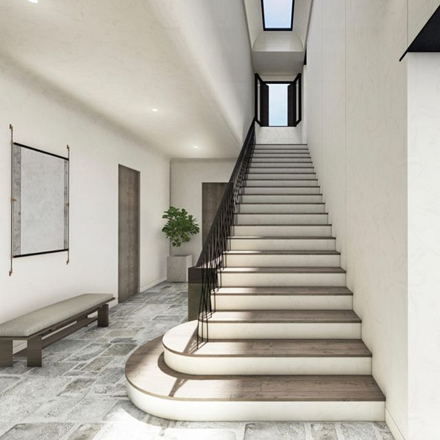 E N V I S I O N || When a rendering becomes uncannily close to reality. Excited to see this become tactile and textural with our favorite materials and furniture pieces. || #interiordesign #architecture #rendering #staircasedesign #hallway #vision #oldmeetsnew #classicmeetsmodern