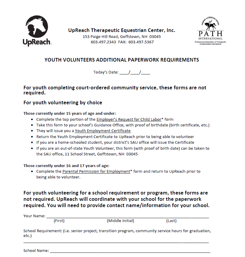 Youth paperwork    Additional paperwork for individuals  under the age of 18 . Please have a parent or legal guardian complete.