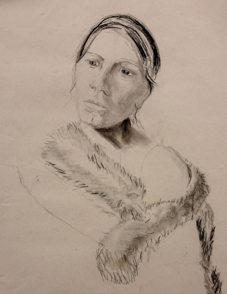 """WOMAN IN FUR"",  Charcoal on Paper,  17x24"",  NFS"