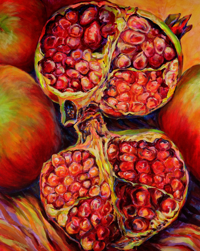 """POMEGRANATES"",  Acrylic on Canvas,  24x30"",  $825"