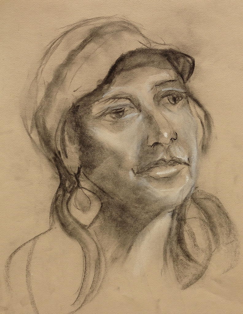 """GIRL IN CAP"",  Charcoal on Paper"",  11x14"",  NFS"
